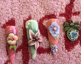 Custom 3D Nail art flower