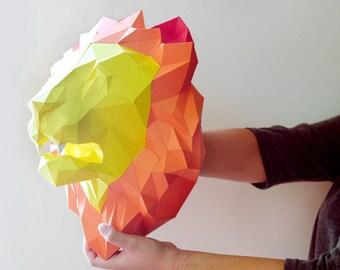 Lion Paper Head Trophy Home Decor Faux Taxidermy DIY Papercraft Folding Template, 3D Puzzle Digital Download