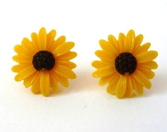 Yellow Sunflower Earrings Acrylic Sweet Cheerful Bright Spring Summer Garden Flower Stud Light