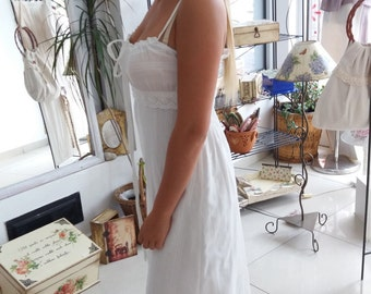 White maxi cotton dress
