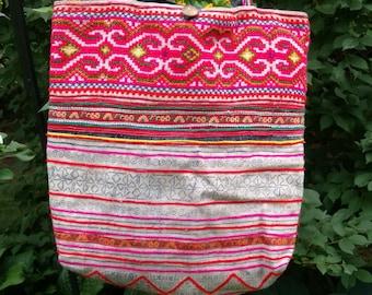 Colorful Hmong Boho Tote Bag