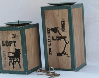 Artists Loft Set of Two Industrial Style Wood and Metal Candle Holders Dorm and Artist Studio Space