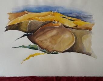 """Tuscany """"Crete"""" watercolor 60 x 80 cm"""