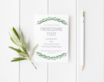 Friendsgiving Feast,Thanksgiving Dinner Party, Friendsgiving, Greenery, Fall, Minimalist, Thanksgiving Party, Greenery Dinner Party Invites