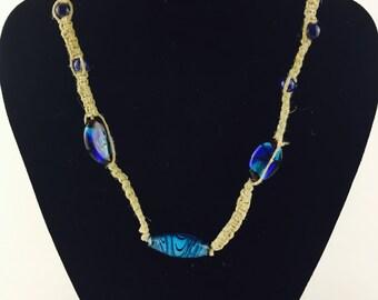 Blue glass bead hemp necklace