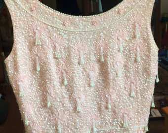vintage 1950s pink beaded wool shell top