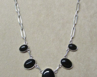 Classic Black Onyx STERLING silver tapering necklace.