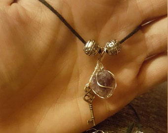 Amethyst and key with silver accents