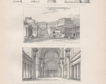 Antique Architecture Lithograph - Vintage Architecture Print from 1857
