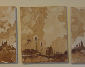 "Handmade 3 Coffee Paintings ""Night Elves."""