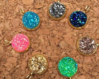 Druzy necklace, Drusy, Druzy Jewlery, dainty gold chain