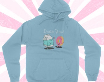 Double Yum Milk and Donut Hoodie - Kawaii Food - Donuts - Doughnut sweater - Funny - BFF - Cute t-shirt - trendy - BOHO