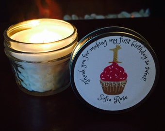 Set of 12 - 4oz Personalized Mason Jar Soy Candles// Baby's 1st Birthday Favors//Party favors//wedding favors//bridesmaids gifts//Cupcake//