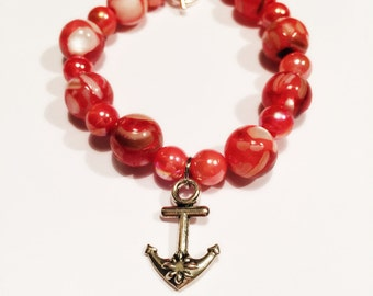 Coral Seahorse Beaded Bracelet With Toggle Clasp