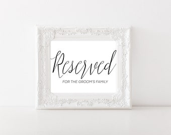 Reserved Table Sign - Reserved for Family Sign - Reserved for Groom's Family - Reserved Row Sign -  Reserved Sign for Wedding - Wedding Sign