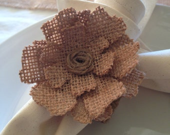 Hessian flower napkin ring