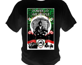 Black Panther Party T-Shirt Power To The People Malcolm X Huey P. Newton
