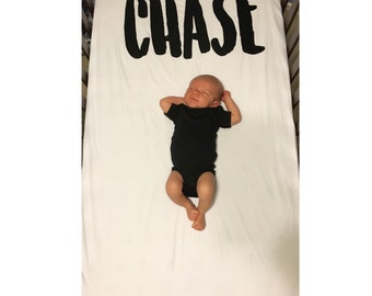 Custom name fitted crib sheet