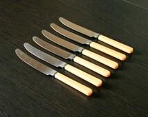 Soviet vintage knives set Dinner knife vintage Kitchen accessory Retro flatware Bakelite handles Soviet vintage Made in USSR