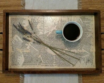 Rustic Wooden Serving Tray with decorative corners and book page lining