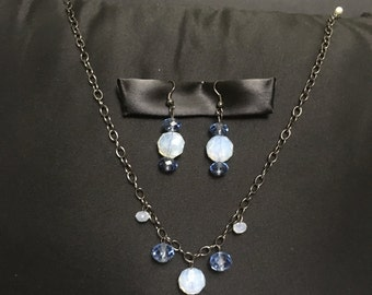Blue glass chandelier necklace and earrings