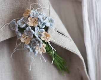 Flower bouquet Flower brooch Crochet brooch Blue brooch Crochet flower pin Decorative pin Textile jewelry Crochet jewelry Romantic jewelry