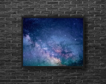 Universe Print - Starry Sky Photo - Blue Sky Print - Blue Wall Decor - Stars - Astronomy Wall Decor - Space Wall Decor - Kids Room Decor