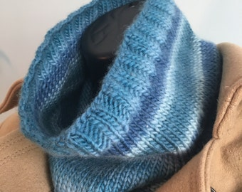 Hand Knit Blue Striped Wool Cowl / Scarf