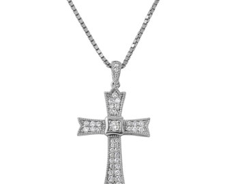 Diamond Cross Pendant Necklace in 14k White Gold (19.75 Inches)