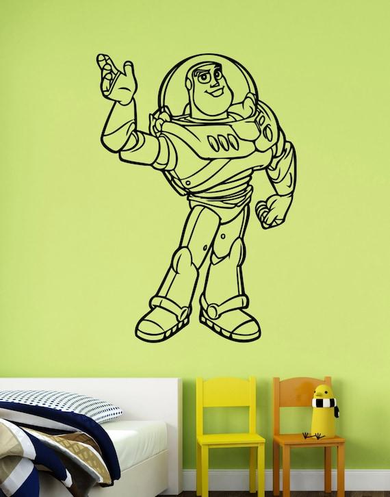 Toy story wall decal buzz lightyear sticker disney cartoon art for Buzz lightyear wall mural