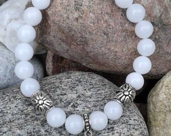 66) Rupture de stock Bracelet jade - breloque coeur - meditation - mala - yoga - cadeau femme -