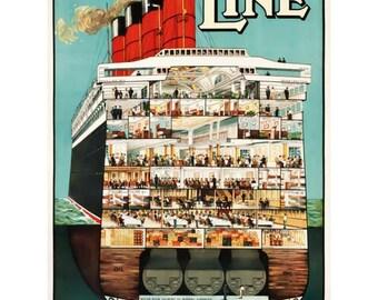 Cunard Line Poster Print Art - Vintage Print Art - Home Decor - Cruise Ship Art