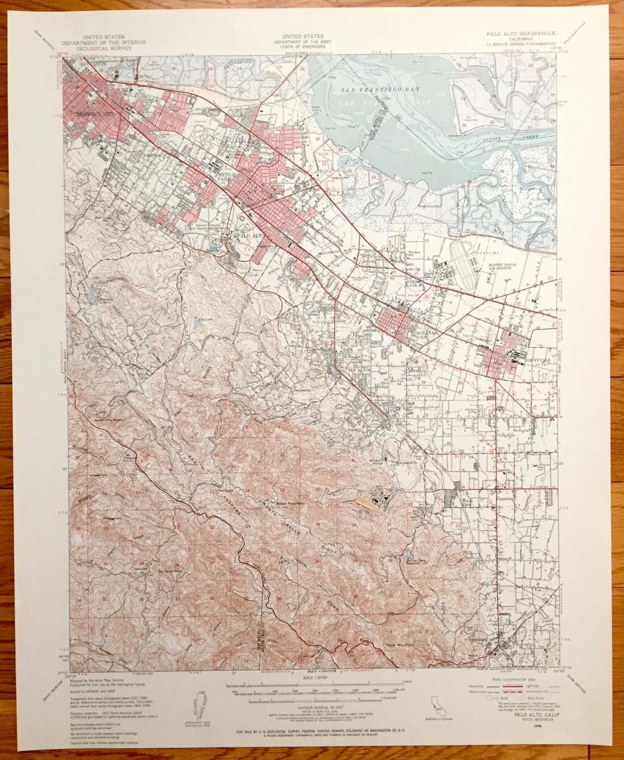 Antique Silicon Valley California US Geological Survey - Us map silicon valley
