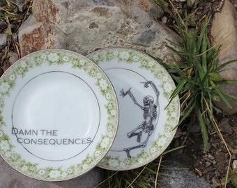 Damn the Consequences Skeleton Dessert Bowls