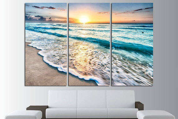 Sunset Beach Wall Art Tropical Print Ocean View Beach Canvas
