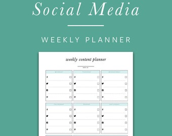 Weekly Social Media Planner - INSTANT DOWNLOAD - Printable PDF -  Facebook, Twitter, Instagram, Pinterest