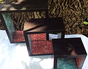 Wall Cube Shelves, Victorian Damask, Le Fleur, Red And Teal Lining On The