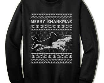 Shark Christmas Sweater Sweatshirt. Merry Sharkmas Christmas Sweatshirt. Ugly Christmas Sweaters for Men and Women. Christmas Gift.