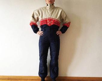 80s 90s Navy Blue One Piece Ski Suit Hipster Snow Pants Retro Blue Colorblock Snowsuit Outdoor Winter Wear Snow Gear Jumpsuit Size Medium