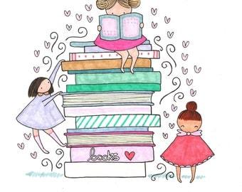 Book Girls Art Print - Hand Drawn Illustration by kathlizbeth