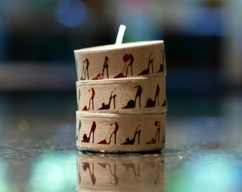 3 tea light candles decorated with washi tape in an elegant pattern of high-heeled shoes