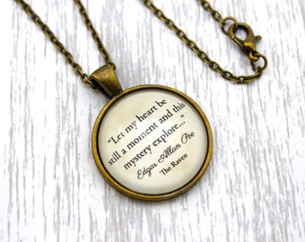 Edgar Allan Poe, 'Let My Heart Be Still', The Raven Quote Necklace or Keychain, Keyring.