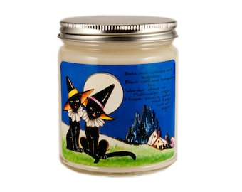 Halloween Candle, Scented Candle, Soy Candle, Vintage Halloween, Container Candle, Cat Candle, Halloween Decor, Halloween Cat
