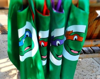 Sale ~ One (1) TMNT Cape w/ mask options- Teenage Mutant Ninja Turtle masks - Birthday party favors, costume, capes, dress up, cosplay.
