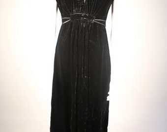 1970s Black Velvet V-Neck Dress