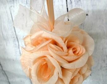 Flower girl Pomander, Peach kissing ball, Wedding flower ball decor