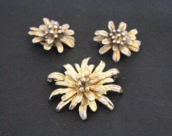 1960's Napier Sterling Silver Goldtone Flower Brooch & Earring Set