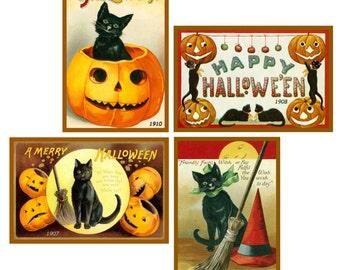 Ellen Clapsaddle Halloween Cat Quilt Blocks #8- Set of 4