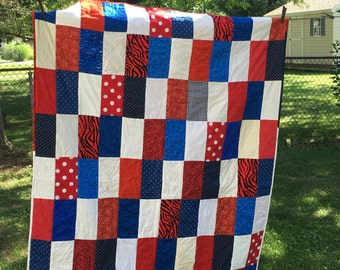 Lap Quilt Red White Blue Lap Quilt....FREE SHIPPING