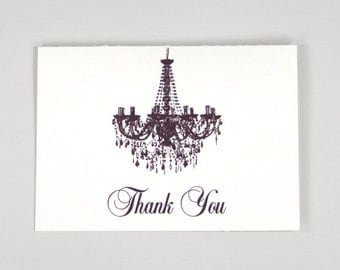 Elegant Chandelier Script Folded Thank You Card - A2 Broadfold Thank You Card with A2 Envelope